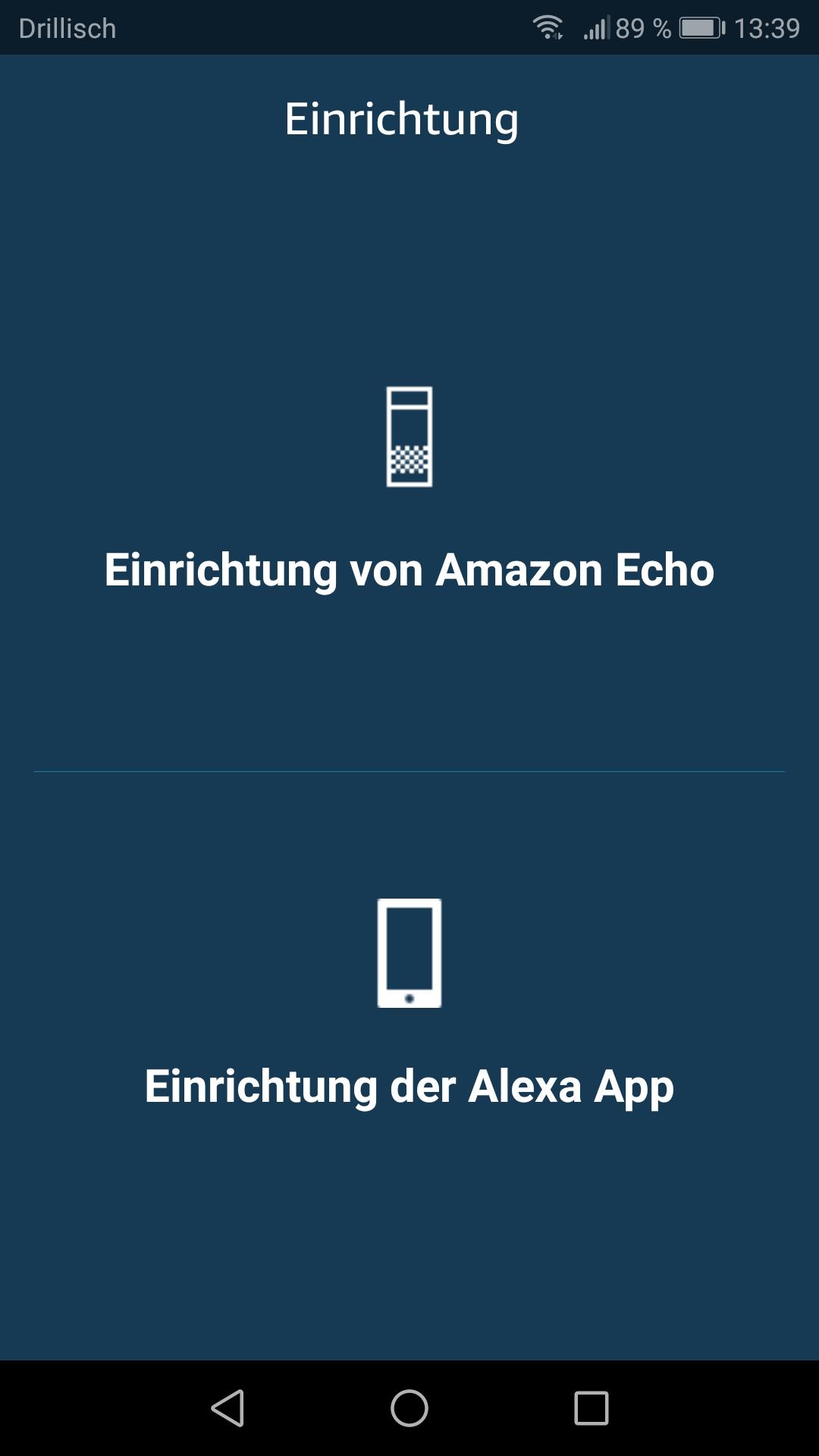 Smartphone App: Auswahl der Gerätekategorie