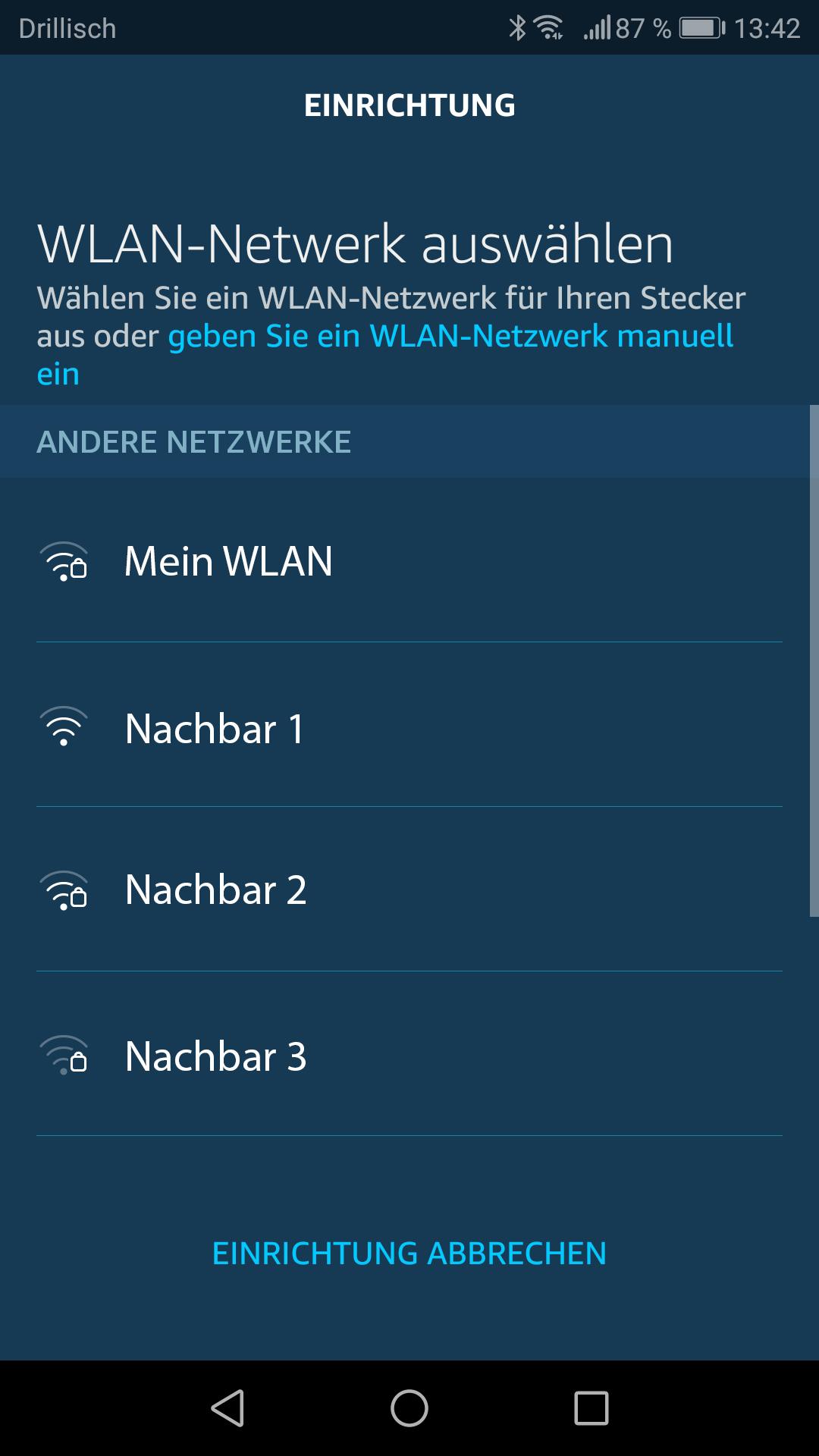 Smartphone App: WLAN Netzwerk auswählen