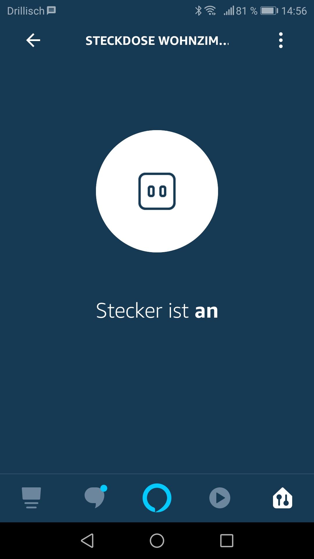 Smartphone App steuert die Steckdose. Stecker ist an