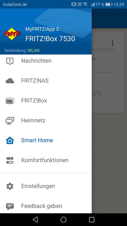 Fritz App Smart Home Übersicht