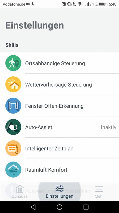 Einstellungen der Tado Smartphone App