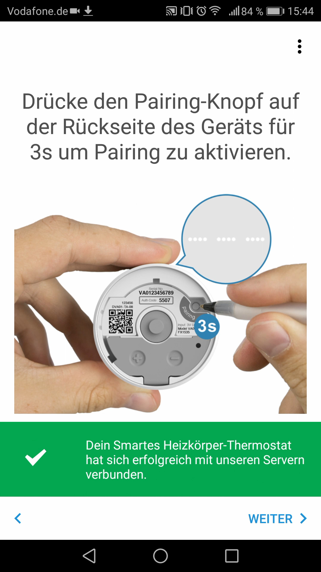 Smartphone App: Paring des Thermostats