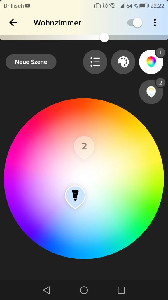 Phillips Hue App Steuerung der Farben Screenshot 3