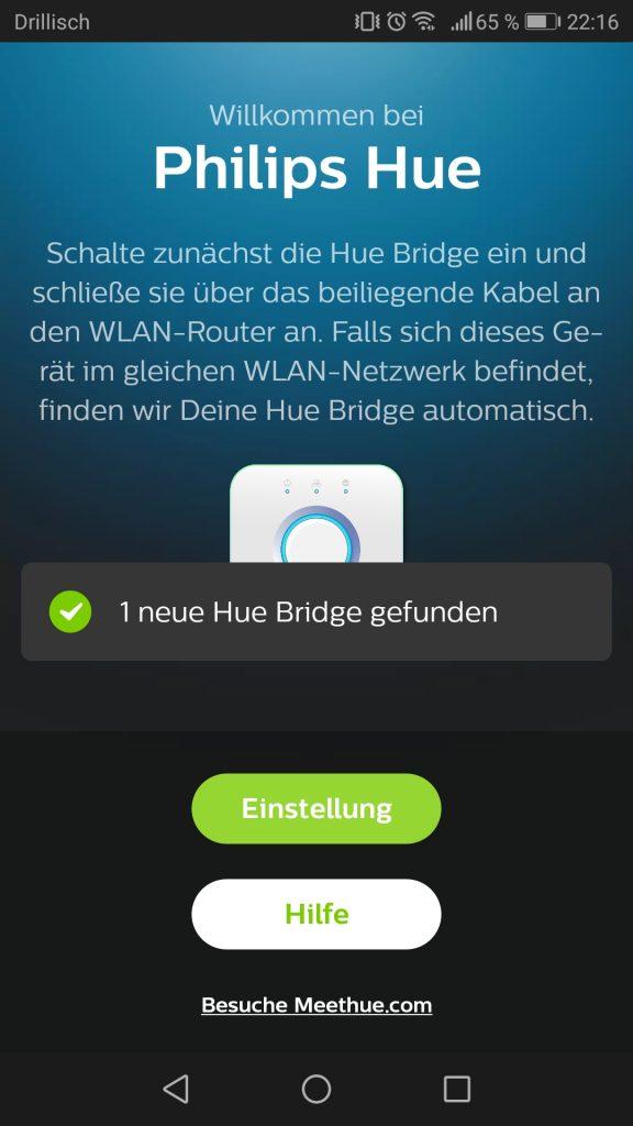 Phillips Hue Inbetriebnahme und Installation der App Screenshot 1
