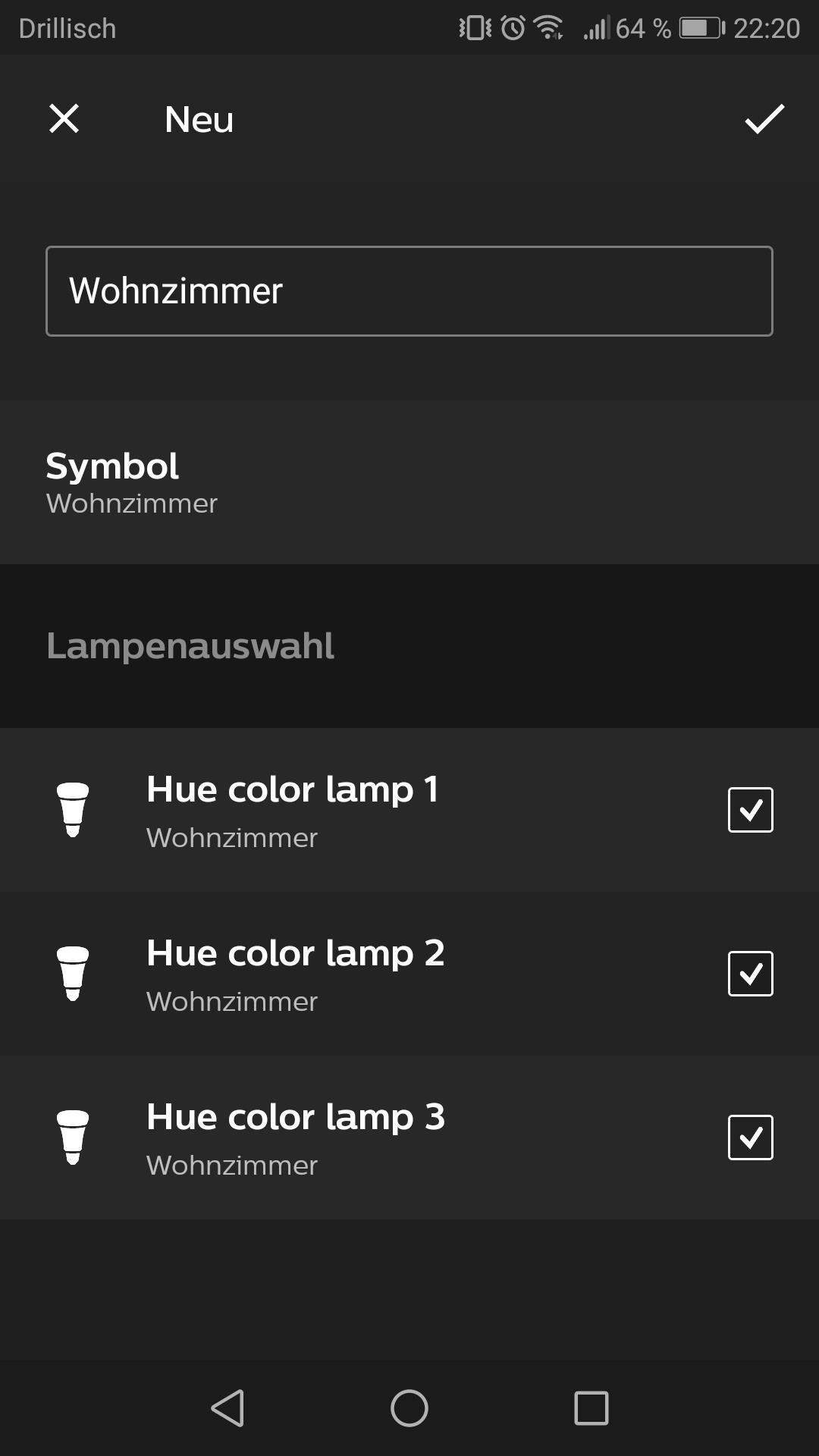 Lampen wählen Hue App