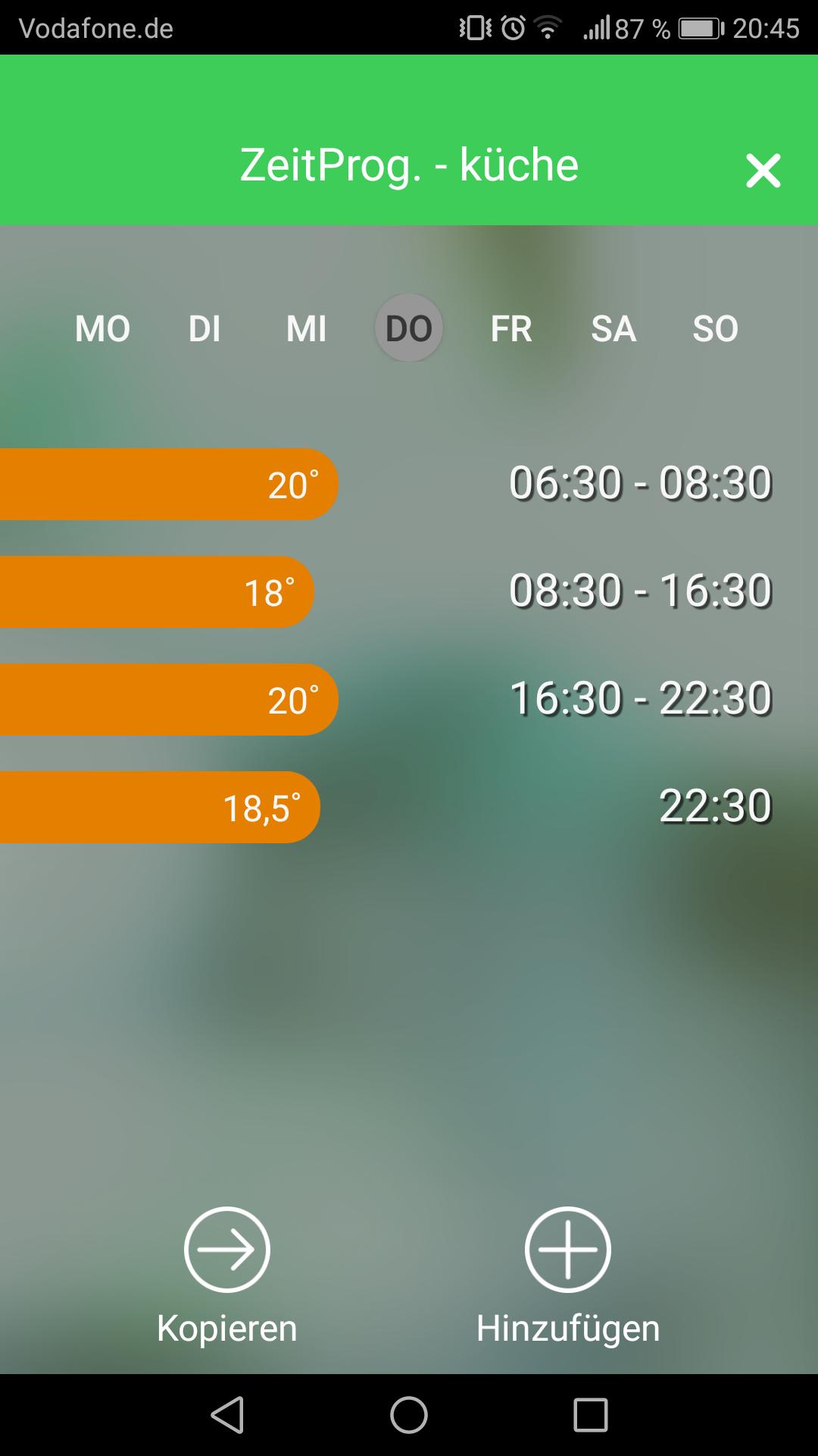 Wiser App Zeitplansteuerung