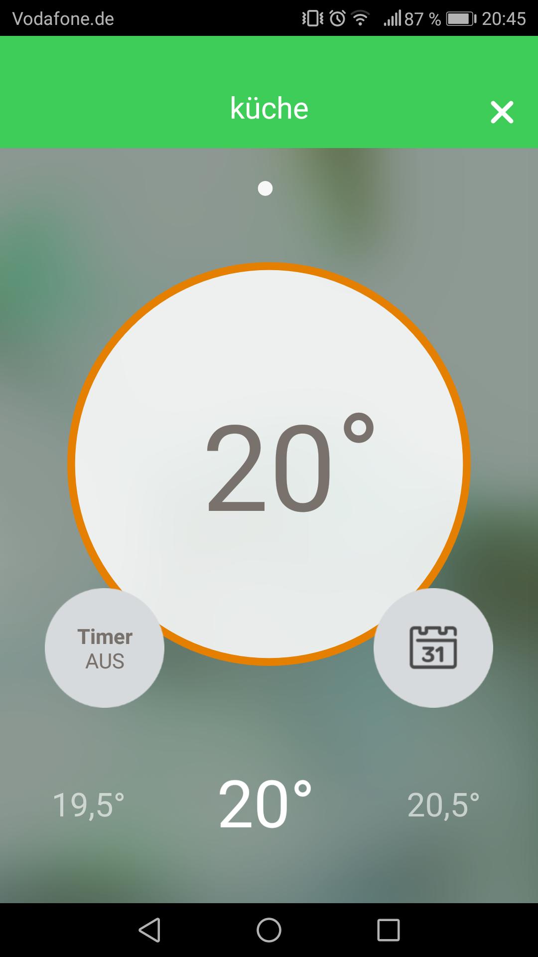 Wiser App Temperaturanzeige