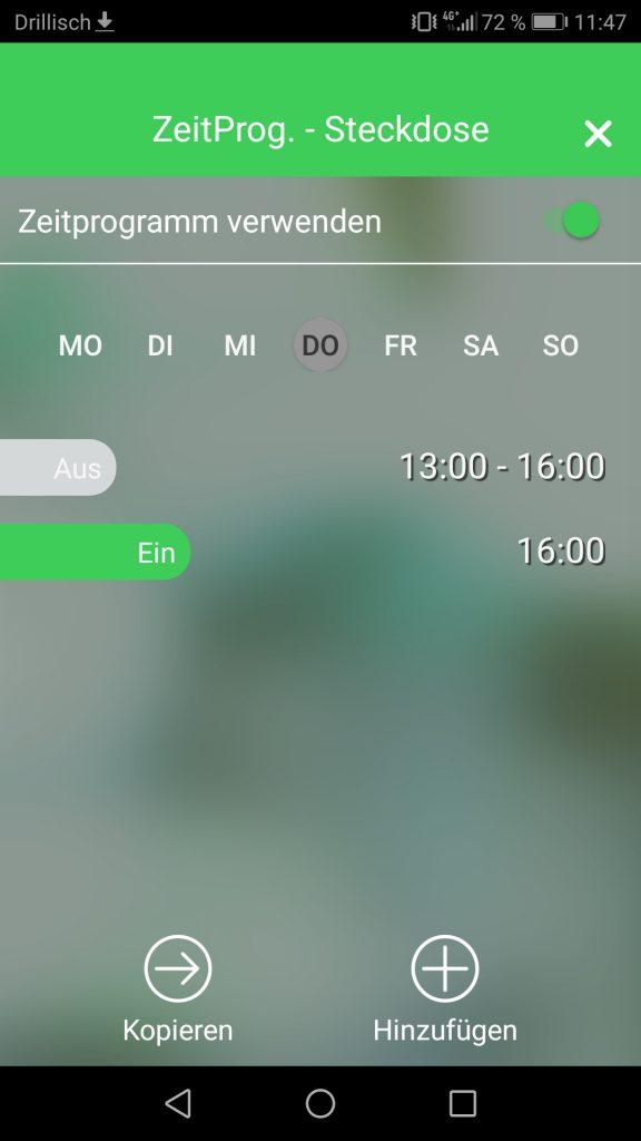 Wiser Heat App Screenshot Zeitplansteuerung WLAN Steckdose