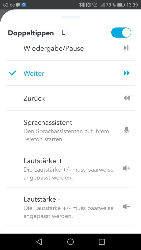 Soundcore App Steuerung Linkes Ohr