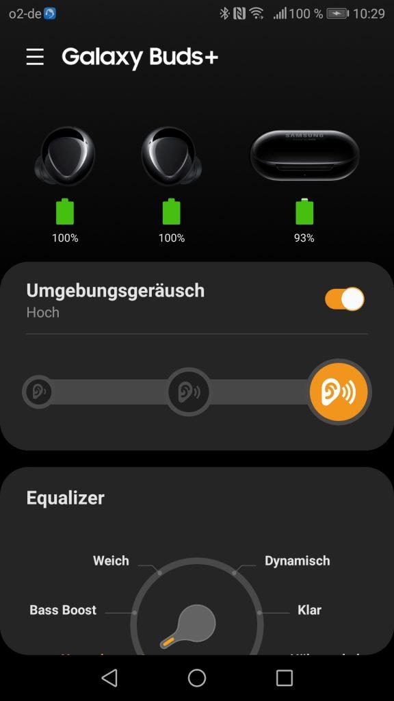 Samsung Galaxy Buds Plus App Screenshot Akkustandsanzeige