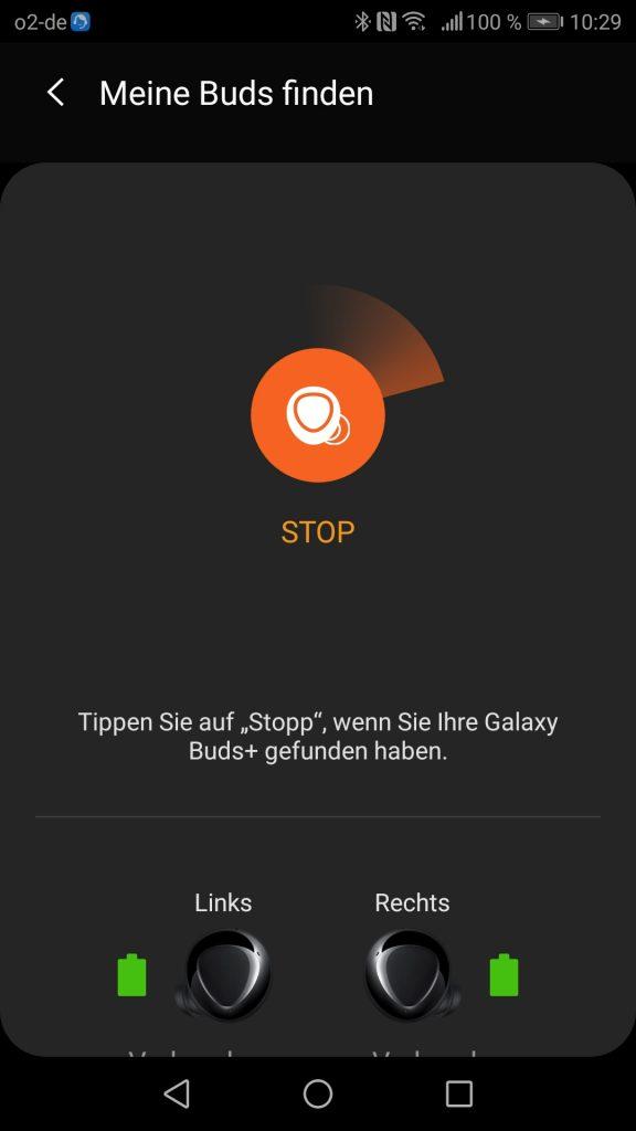 Samsung Galaxy Buds Plus App Screenshot Suchfunktion