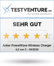 anker powerwave wireless charger award testsiegel sehr gut testventure