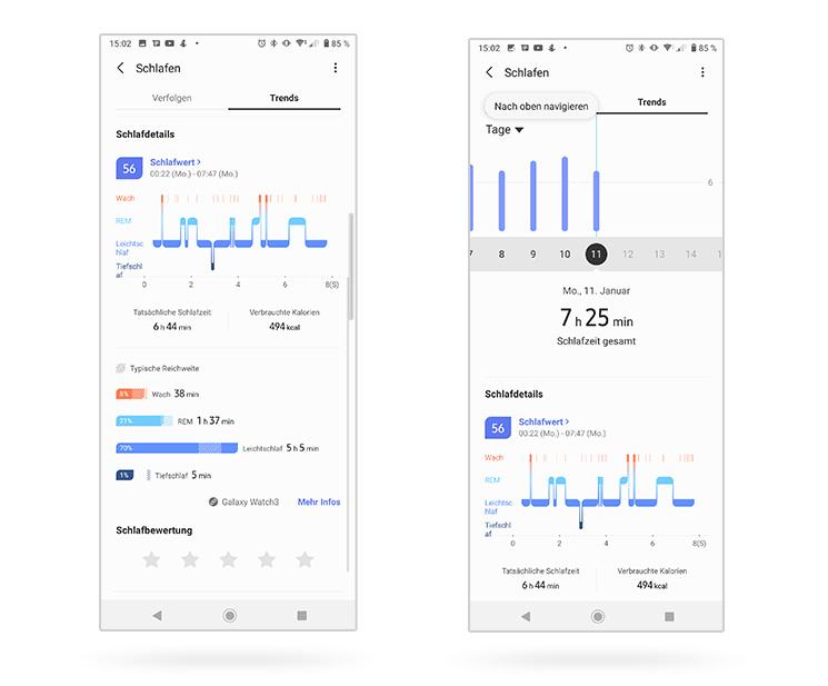 Schlaftracking Samsung Health App