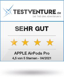 Abbildung zeigt das Testventure Testlogo der Airpods Pro mit Sehr Gut