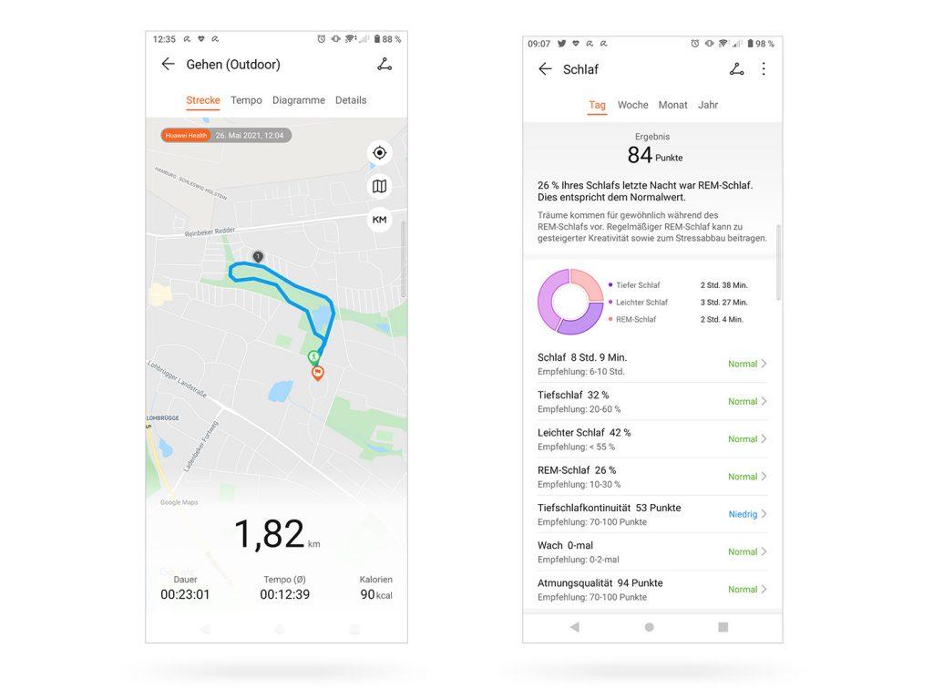 Abbildung zeigt die Huawei Health App mit Workouts und Schlaftracking