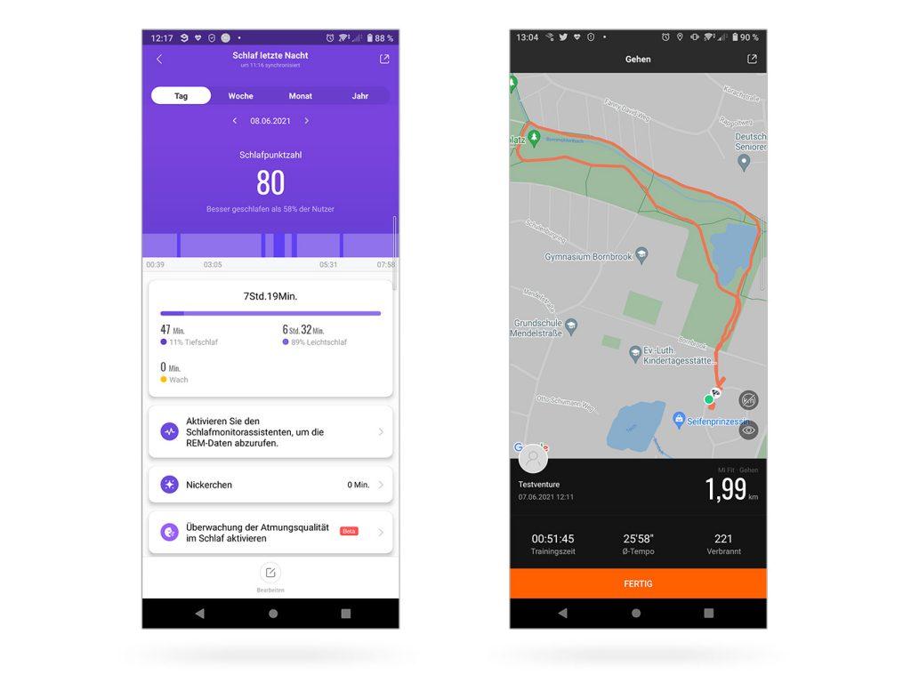 Abbildung zeigt das Schlaftracking und Sporttracking in der Mi App
