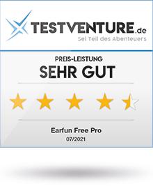 Abbildung zeigt das Testlogo für die Earfun Free Pro