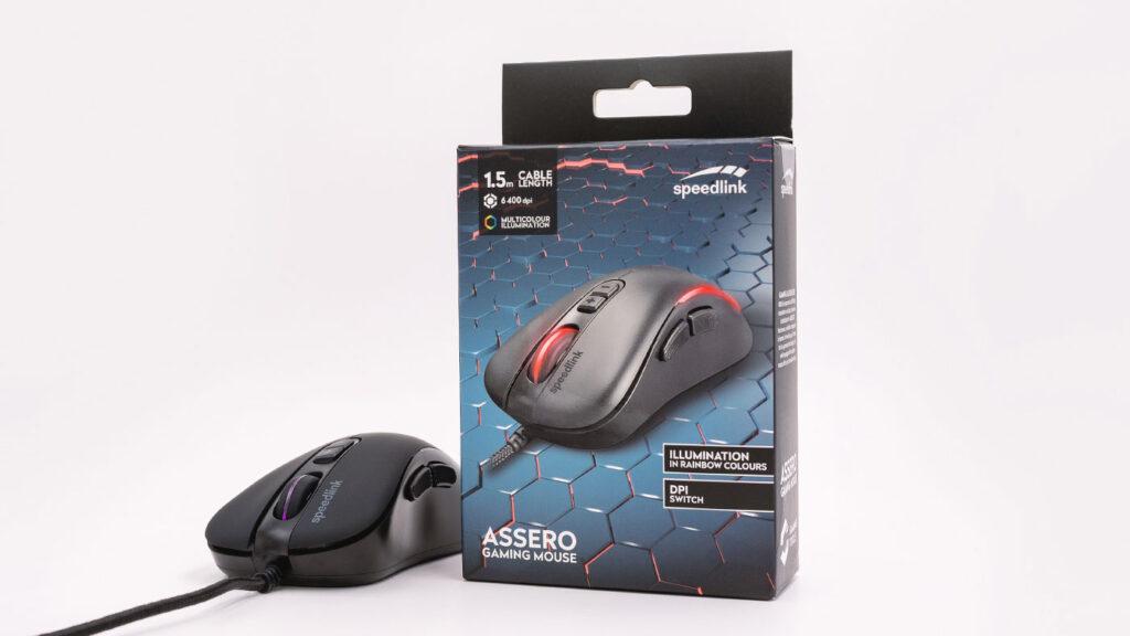 Abbildung zeigt die Speedlink ASSERO Maus mit Verpackung