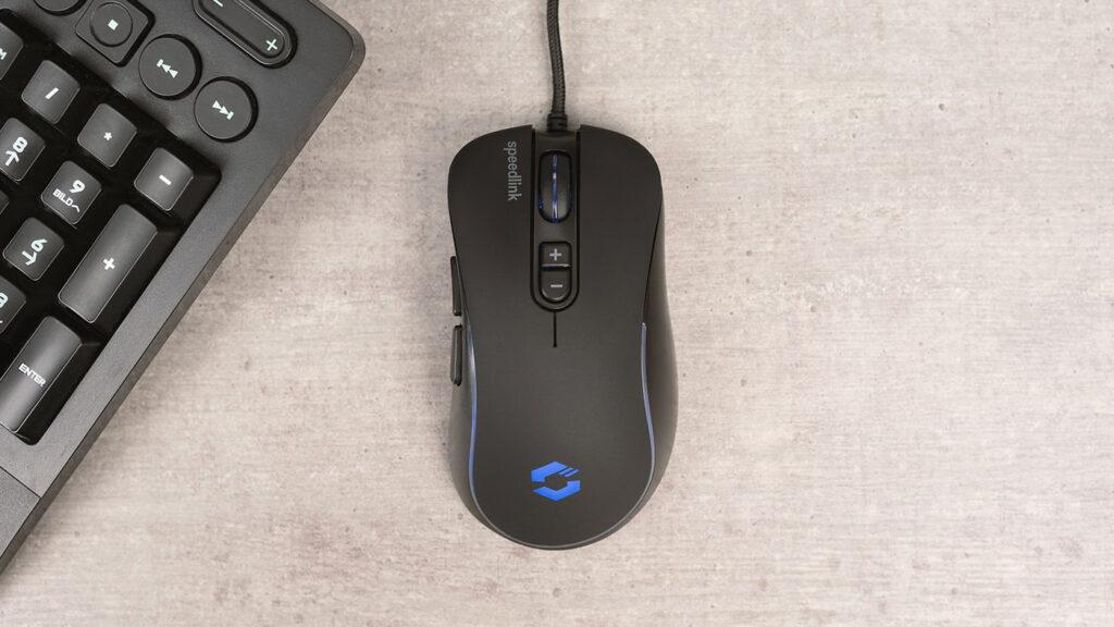 Abbildung zeigt die Speedlink ASSERO RGB Maus mit Tastatur