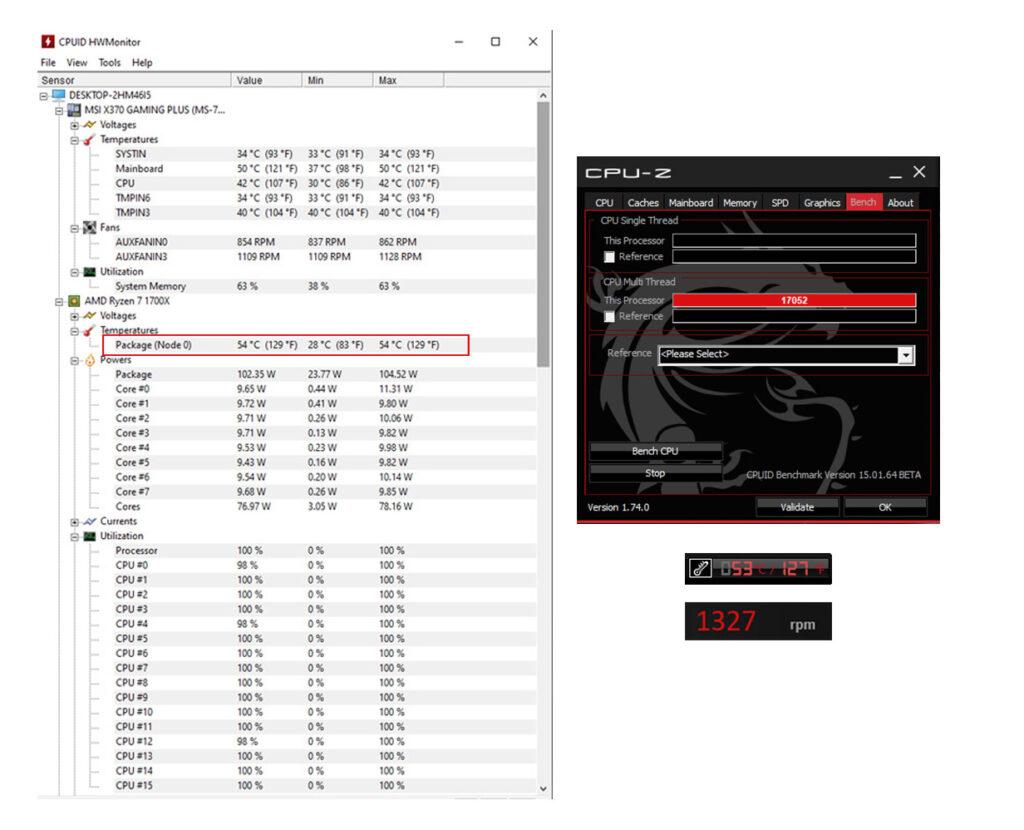 Noctua NH-U12S Redux CPU-Stresstest mit Temperatur